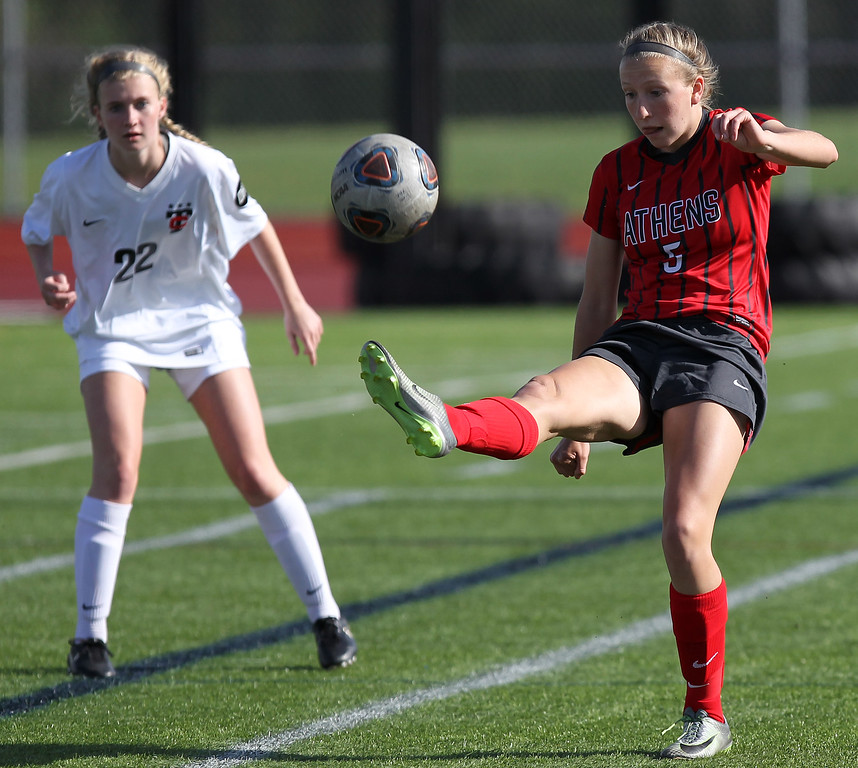 . Troy defeats cross town rival Troy Athens 2-1 in varsity soccer action at Troy High School Thursday, May 10, 2018. (For The Oakland Press / LARRY McKEE)