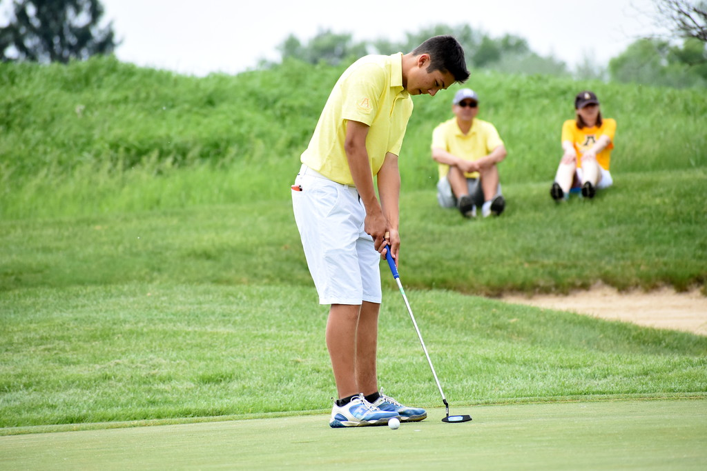 . Rochester Adams\' Matt Moriwaki hits a putt during his round at the Division 1 golf regional at Twin Lakes Golf Club Wednesday afternoon. The senior shot a round of 77. (Digital First Media photo by Jason Schmitt)