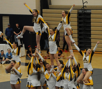 Rochester Adams competes in round 3 of the MHSAA D1 Competitive Cheer District held on Saturday February 16, 2019 at Stoney Creek HS.  Adams placed 2nd and advances to next Saturday's Regional at Troy Athens.  (KEN SWART for Media News Group)
