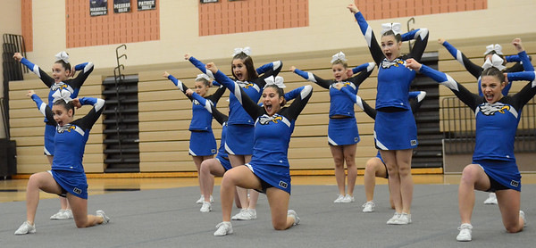 Utica Eisenhower competes in round 1 of the MHSAA D1 Competitive Cheer District held on Saturday February 16, 2019 at Stoney Creek HS.  The Eagles placed 3rd and advances to next Saturday's Regional at Troy Athens.  (KEN SWART for Media News Group)