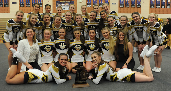 The Stoney Creek Cougars show off the D1 District trophy they won at the MHSAA D1 Competitive Cheer District held on Saturday February 16, 2019 at Stoney Creek HS.  Rochester Adams placed second with Utica Eisenhower and Rochester rounding out the top four.  All 4 teams advance to next Saturday's Regional at Troy Athens.  (KEN SWART for Media News Group)