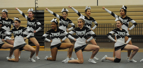 The Stoney Creek Cougars won the MHSAA D1 Competitive Cheer District held on Saturday February 16, 2019 at Stoney Creek HS.  Rochester Adams placed second with Utica Eisenhower and Rochester rounding out the top four.  All 4 teams advance to next Saturday's Regional at Troy Athens.  (KEN SWART for Media News Group)