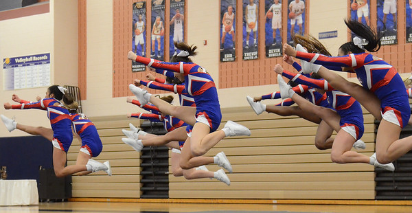 Rochester competes in round 1 of the MHSAA D1 Competitive Cheer District held on Saturday February 16, 2019 at Stoney Creek HS.  Rochester placed 4th and advances to next Saturday's Regional at Troy Athens.  (KEN SWART for Media News Group)