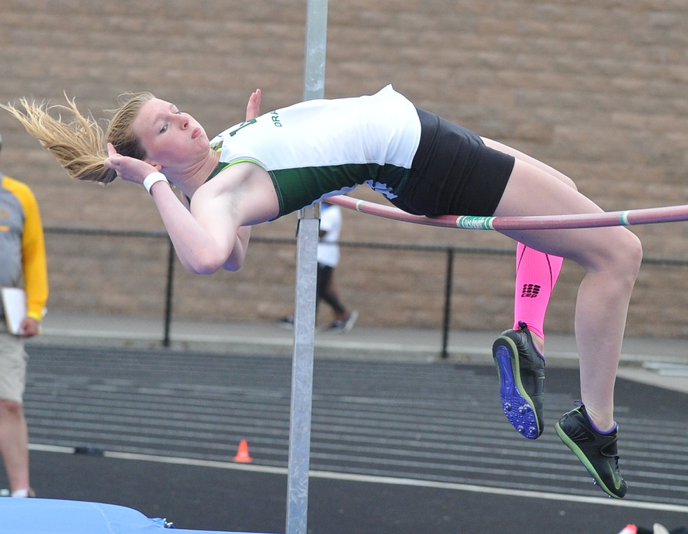 . Lake Orion\'s Colleen Campbell took 2nd place in the high jump clearing 5\' to help the Dragons win the MHSAA D1 Regional meet held on Friday May 18, 2018 at Rochester High School. (Oakland Press photo by Ken Swart)