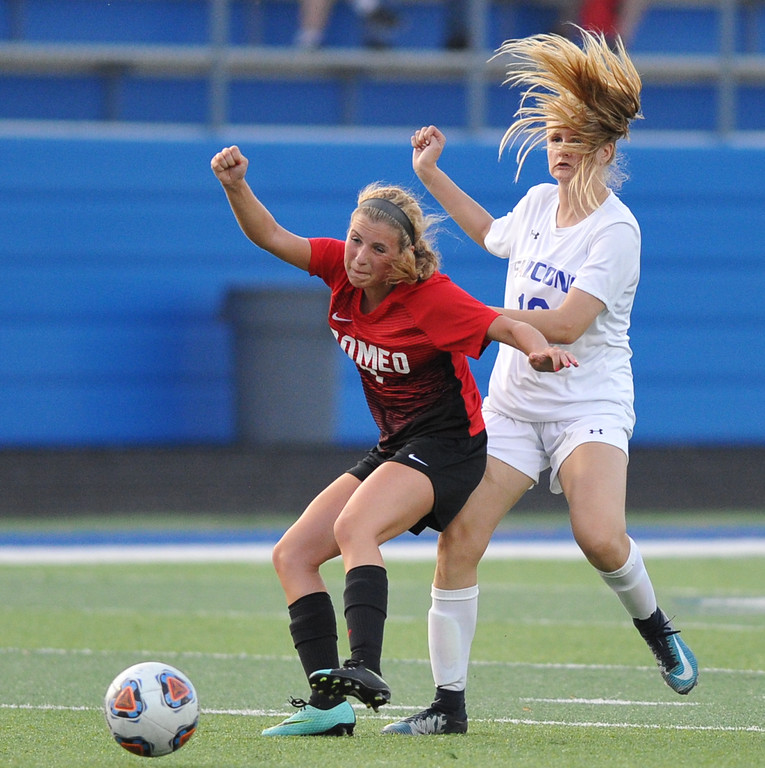 . Rochester defeated Romeo 1-0 in the MHSAA D1 Soccer district quarterfinal match played on Tuesday May 29, 2018 at Rochester High School.  (Digital First Media photo by  Ken Swart)