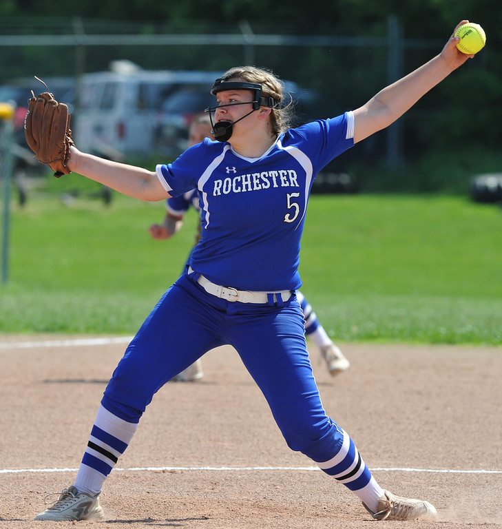 . Utica Eisenhower defeated Rochester 9-0 in the MHSAA D1 softball pre-district game played on Tuesday May 29, 2018 at Rochester High School. (Digital First Media Photo by Ken Swart)