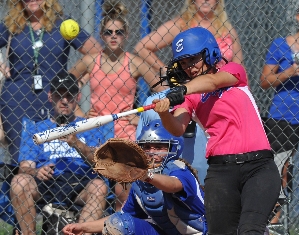 . Utica Eisenhower\'s Aspen Starr connects for a two run home run against Rochester in the MHSAA D1 softball pre-district game played on Tuesday May 29, 2018 at Rochester High School. The Eagles defeated the Falcons 9-0. (Digital First Media Photo by Ken Swart)