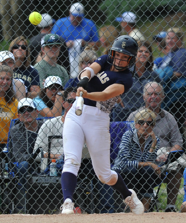 . Stoney Creek\'s Sidney Rayba connects on a solo home run in the top of the seventh inning to give the Cougars a 2-1 win over Rochester Adams in the title game of the MHSAA D1 district played at Stoney Creek HS on Saturday June 2, 2018.  The Cougars defeated Utica Eisenhower 8-1 in the semis and Adams beat Romeo 5-4 in the other semi final.  (Digital First Media photo by Ken Swart)