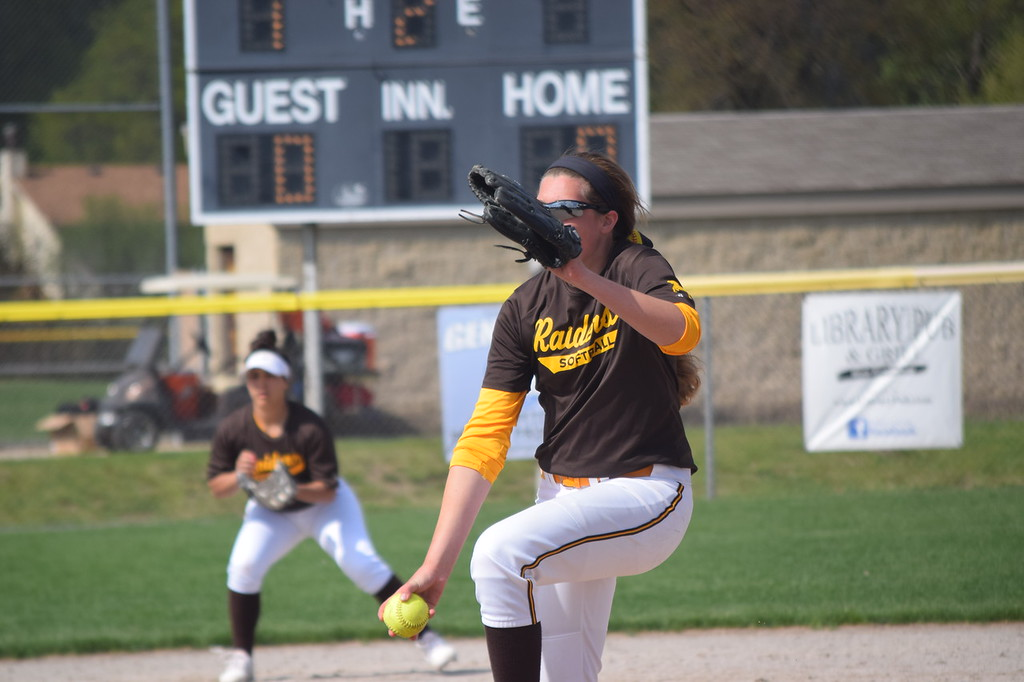 . Oxford and North Farmington split a softball doubleheader on Thursday. The Raiders won 3-1, then the Wildcats came back with a 14-4 victory. (Photo by Paula Pasche)