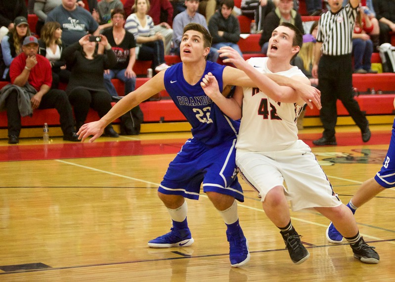 Senior Nolan Tews lead the Blackhawk victory with 19 points.  The visiting Brandon Blackhawks were victorious at Holly Friday night.  (MIPrepZone photo by Tom Tomich)