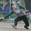 Lake Orion first baseman Bethany Gardner stretches to make the put out against Davison during the tournament held on Saturday April 15, 2017 at Lake Orion High School.  Lake Orion defeated Oxford 1-0 in the championship game. (MIPrepZone photo by Ken Swart)