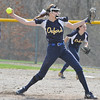 Oxford pitcher Hannah Vachon delivers a pitch against Swartz Creek during the tournament held on Saturday April 15, 2017 at Lake Orion High School.  Lake Orion defeated Oxford 1--0 to win the Championship.  (MIPrepZone photo by Ken Swart)