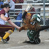 Davison's Sarah Meyer puts the tag on Lake Orion's Kasidy Carson trying to score on a passed ball during the tournament held on Saturday April 15, 2017 at Lake Orion High School.  Lake Orion defeated Oxford 1-0 to win the title.  (MIPrepZone photo by Ken Swart)