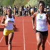 Madison Eaton (second from right) finished in front in the 100-meter dash while Lawren Williams (second from left) placed second. Lake Orion's girls scored at will while the boys survived some lineup absences as the Dragons defeated Rochester Adams in an OAA Red dual track and field meet Wednesday at Adams. (MIPrepZone photo gallery by MARVIN GOODWIN).
