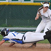 Waterford Kettering's Maddie French tags out Lakeland's Kaley Miller (15) at third base during the DH played on Wednesday May 3, 2017 at Kettering HS. The Captains lost both games to the Eagles 9-0 and 11-2.(MIPrepZone photo by Ken Swart)