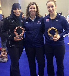 Dr. Ann Marsh-Senic (center) posed with Ibti Mohammed (left) and Mariel Zagunis, a pair of medal contenders for the Olympic Games in Rio de Janeiro. (Photo contributed).