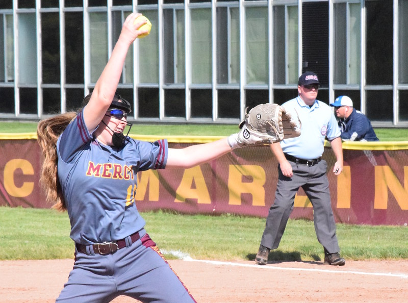 Warren Regina needed to win just one of two games at Farmington Hills Mercy on Friday to clinch the Catholic League's Central Division title. Mercy won the first game, 6-4, but Regina won the nightcap, 6-3. (MIPrepZone photo by Matthew B. Mowery)