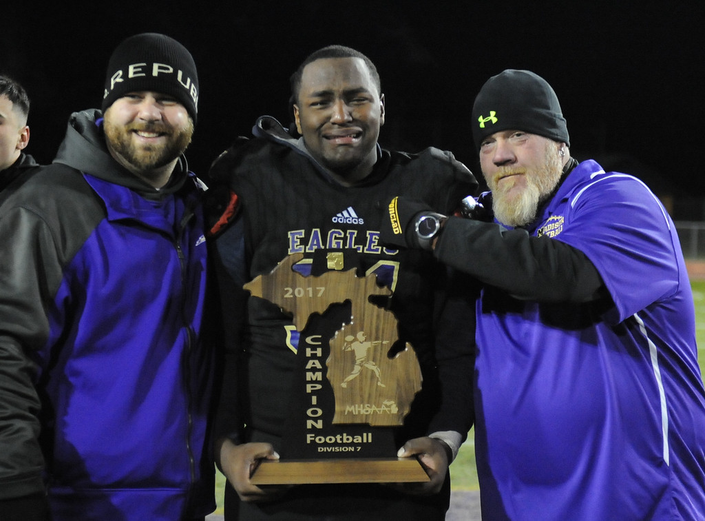. The Madison Heights Madison Eagles defeated Monroe St. Mary Catholic Central 22-20 in the MHSAA D7 Regional final played on Friday Nov. 10, 2017 at MH Madison HS.  (Oakland Press photo by Ken Swart)