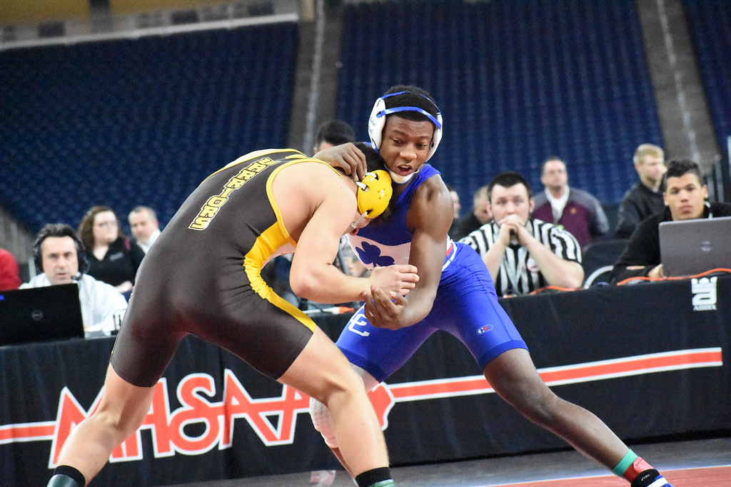 . Novi Detroit Catholic Central junior Kevon Davenport wrestles Bay City Western\'s Vic Schoenherr in the 145-pound title match at the Division 1 individual wrestling finals Saturday at Ford Field. (Digital First Media photo by Jason Schmitt)