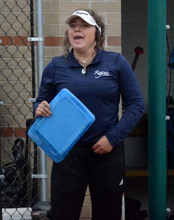 . The Regina softball team edged Farmington Hills Mercy on Monday in the CHSL A/B championship at U-D Mercy, 5-4. (Digital First Media photo gallery by Drew Ellis)