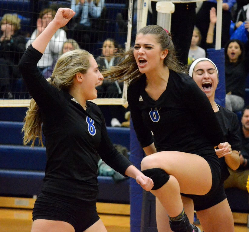 . Birmingam Marian advanced to the Class A semifinals on Tuesday thanks to a 25-22, 25-10, 25-21 win over Midland in the quarterfinals at Saginaw Heritage High School. (Oakland Press photo gallery by Drew Ellis)