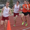 Milford's Luke Sakkinen is ahead of teammate Dakota Giles in the 800-meter run in a dual meet Tuesday against Brighton. (Submitted photo).