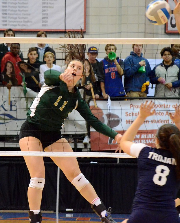 . The Pontiac Notre Dame Prep volleyball team advanced to the Class B state championship on Friday thanks to a 25-15, 25-9, 25-14 win over Fruitport in the semifinals at Kellogg Arena in Battle Creek. (Oakland Press photo by Drew Ellis)