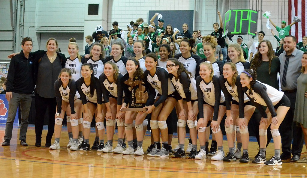 . Novi won its third straight Class A state championship on Saturday, beating Marian 25-23, 25-9, 25-23 from Kellogg Arena in Battle Creek. (Oakland Press photo gallery by Drew Ellis)