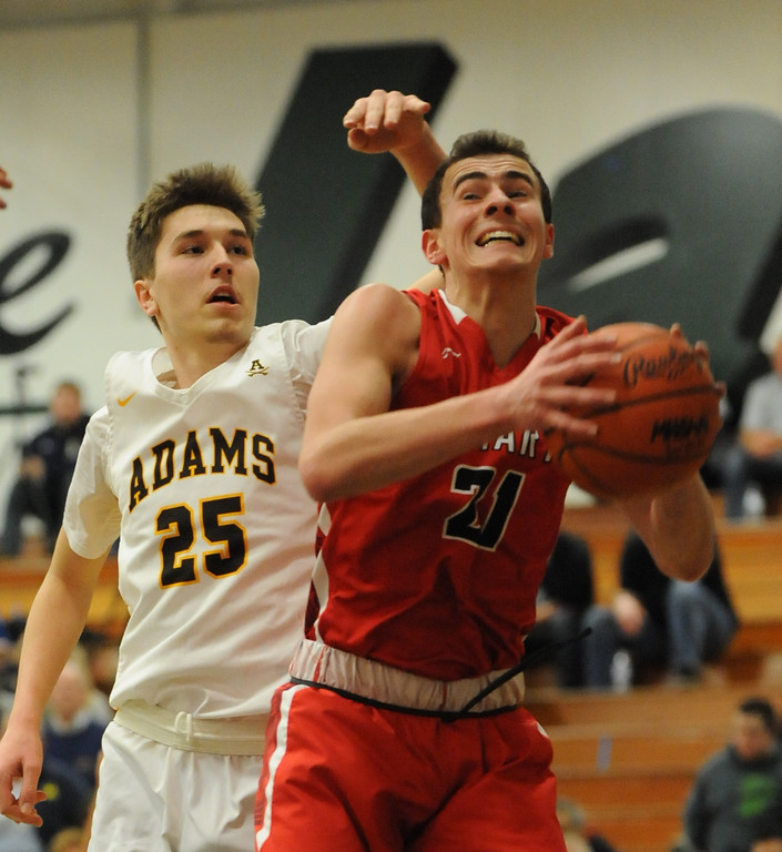 . The Orchard Lake St Mary\'s Eaglets defeated the Rochester Adams Highlanders 41-35 in the MHSAA Class A Regional semi-final played on Monday March 12, 2018 at West Bloomfield High School.  (Oakland Press photo by Ken Swart)