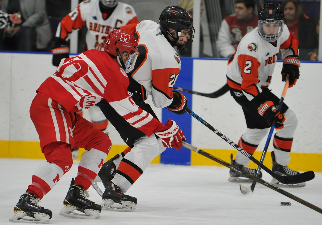 . Orchard Lake St. Marys defeated Birmingham Brother Rice 5-2 in the game played on Wednesday December 6, 2017 at the Oak Park Ice Arena.  (Oakland Press photo by Ken Swart)
