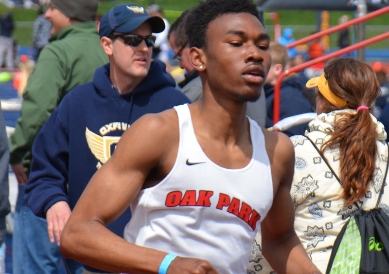 Cameron Cooper of Oak Park was way ahead of everyone else in winning the 800 and 1,600. Oak Park's boys and girls were winners at the 55th annual Elmer Ball Oxford Invitational Saturday at Oxford High. Lake Orion's girls were second and Walled Lake Central's boys finished second in a meet of standout performances. (MIPrepZone photo gallery by MARVIN GOODWIN).