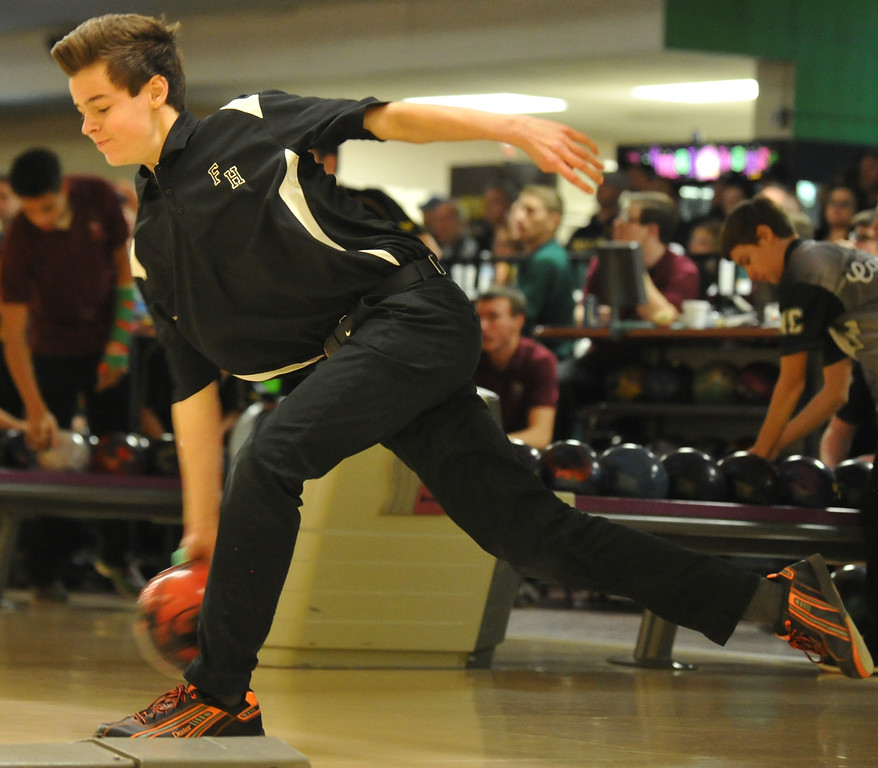 . Farmington Harrison\'s Jonah Musial  had the high series (700) at the Oakland County Tournament held on Sunday January 14, 2018 at Cherry Hill Lanes in Clarkston.  Farmington Harrison finished second to Oxford for the title.  (Oakland Press photo by Ken Swart)