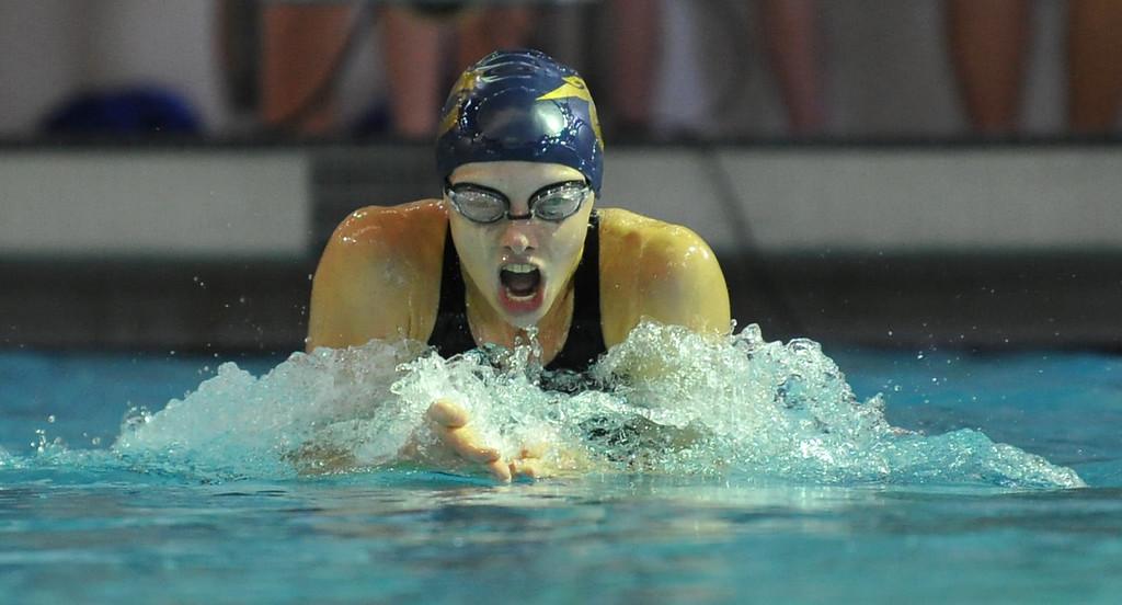 . Emily Shores of Stoney Creek took home first place in the 100 breaststroke event during the Oakland County swim meet held on Saturday October 7, 2017 at Lake Orion HS. Farmington Hills Mercy won the title.  (Oakland Press photo by Ken Swart)