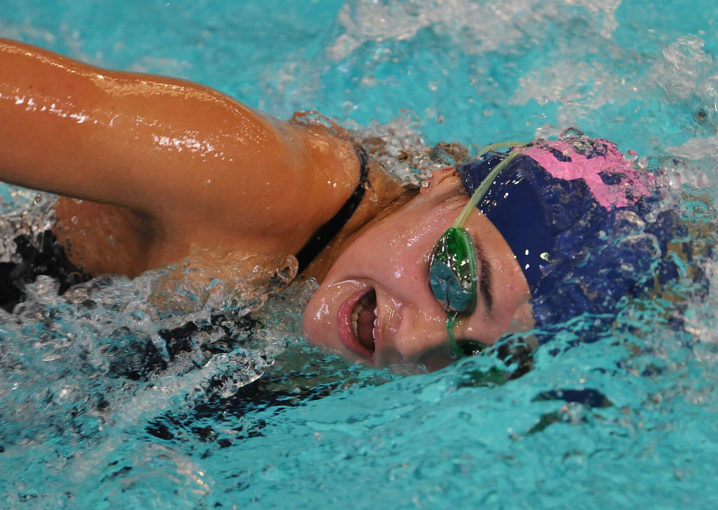 . Detroit Country Day\'s Ava Cassel competes in the 500 free style event during the Oakland County swim meet held on Saturday October 7, 2017 at Lake Orion HS. Farmington Hills Mercy won the team title.  (Oakland Press photo by Ken Swart)