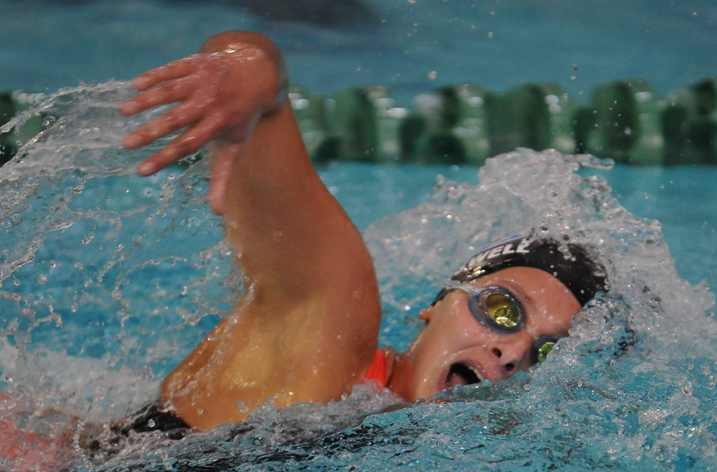 . Royal Oak\'s Julia Boswell took home first place in the 500 free style event during the Oakland County swim meet held on Saturday October 7, 2017 at Lake Orion HS. Farmington Hills Mercy won the title.  (Oakland Press photo by Ken Swart)