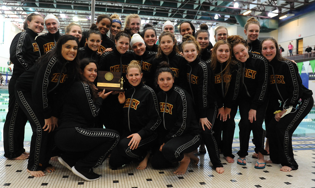 . Farmington Hills Mercy took home the title at the Oakland County Swim Meet held on Saturday October 7, 2017 at Lake Orion High School.  The Marlins scored 395 points to outdistance the Farmington Harrison Thunderbirds and Rochester Adams who finished in 3rd.  (Oakland Press photo by Ken Swart)