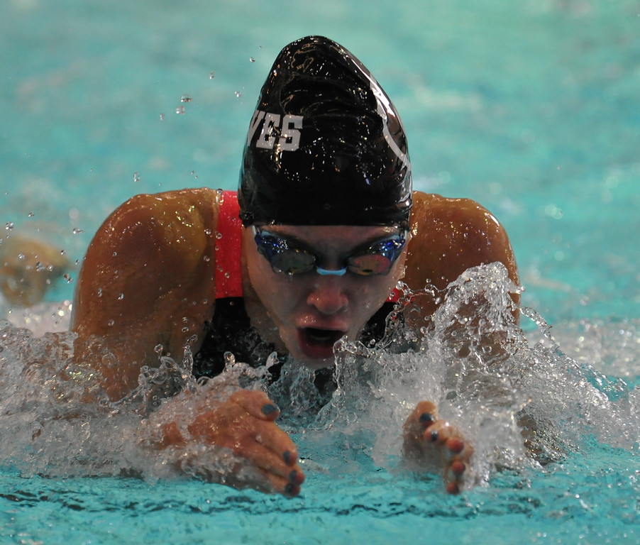 . Hannah Deighan of Birmingham Groves competes in the 100 IM event during the Oakland County swim meet held on Saturday October 7, 2017 at Lake Orion HS. Farmington Hills Mercy won the title.  (Oakland Press photo by Ken Swart)