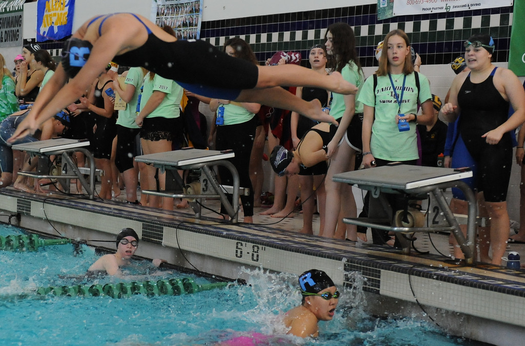 . Action from the Oakland County Swim Meet held on Saturday Oct. 7, 2017 at Lake Orion HS.  Farmington Hills Mercy took home the title with the Farmington Harrison Thunderbirds taking 2nd place.  Rochester Adams finished in 3rd.  (Oakland Press photo by Ken Swart)
