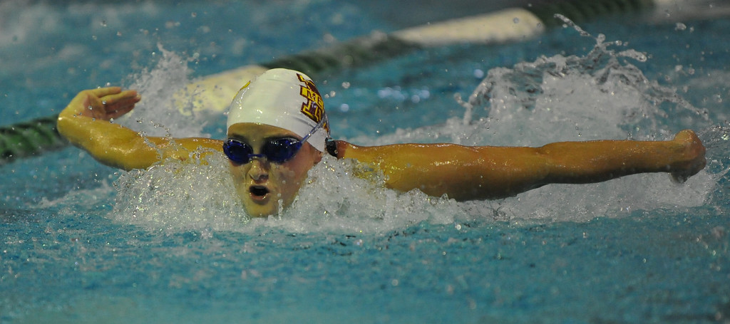 . Katie Minnich of Farmington Hills Mercy competes in the 200 IM event during the Oakland County swim meet held on Saturday October 7, 2017 at Lake Orion HS. Minnich won the event to help the Marlins win the title.  (Oakland Press photo by Ken Swart)