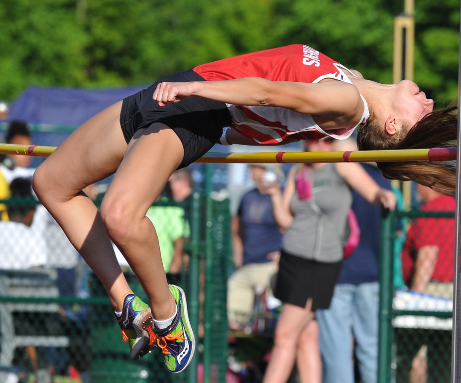""". Jenna Doyle of Troy Athens won the high jump event as she cleared 5\'4\"""" during the 59th annual Oakland Country Track meet held on Friday May 25, 2018 at Novi High School.  Oak Park won both the girls and boys titles. (Oakland Press photo by Ken Swart)"""