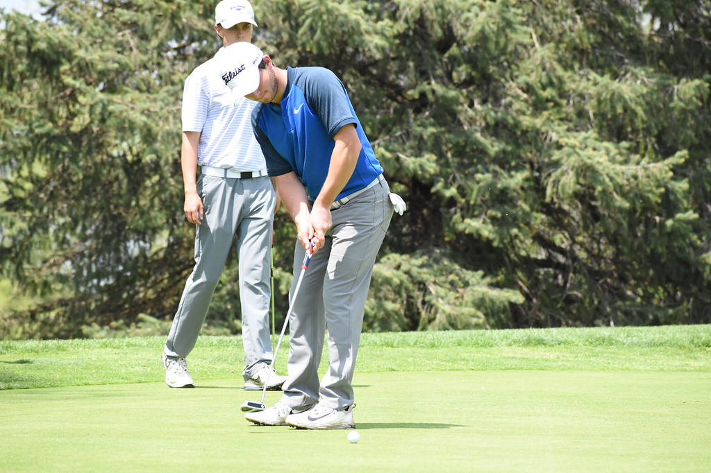 . Berkley senior Jake Radom sinks a birdie putt on the 12th green Wednesday, capping off a 4-under round of 68 at the Oakland County Golf Tournament at the Pontiac Country Club. Radom won medalist honors. (The Oakland Press photo by Jason Schmitt)