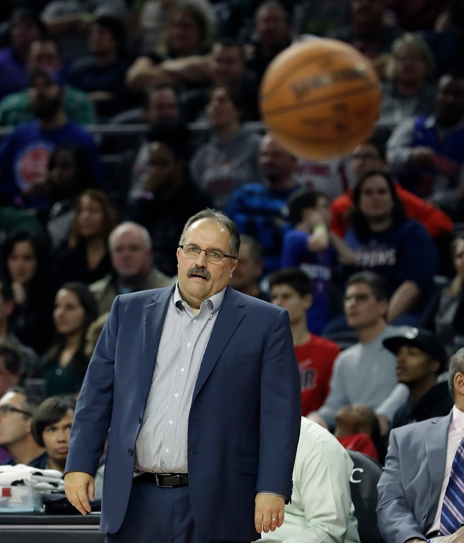 . Detroit Pistons head coach Stan Van Gundy looks on as the Pistons inbound the ball during the second half of an NBA basketball game against the Washington Wizards, Saturday, Jan. 21, 2017, in Auburn Hills, Mich. (AP Photo/Carlos Osorio)