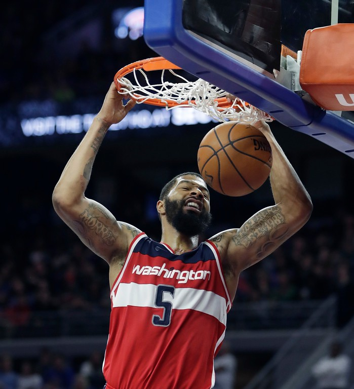 . Washington Wizards forward Markieff Morris dunks during the second half of the team\'s NBA basketball game against the Detroit Pistons, Saturday, Jan. 21, 2017, in Auburn Hills, Mich. (AP Photo/Carlos Osorio)