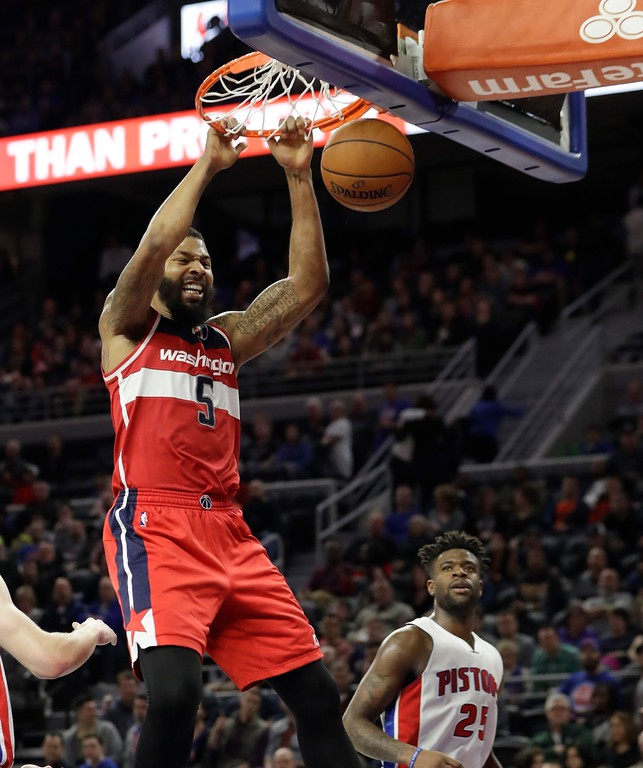 . Washington Wizards forward Markieff Morris dunks during the second half of an NBA basketball game against the Detroit Pistons, Saturday, Jan. 21, 2017, in Auburn Hills, Mich. (AP Photo/Carlos Osorio)