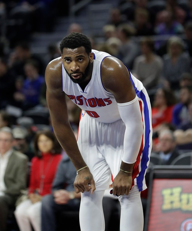 . Detroit Pistons center Andre Drummond takes a break during the first half of an NBA basketball game against the Washington Wizards, Saturday, Jan. 21, 2017, in Auburn Hills, Mich. (AP Photo/Carlos Osorio)