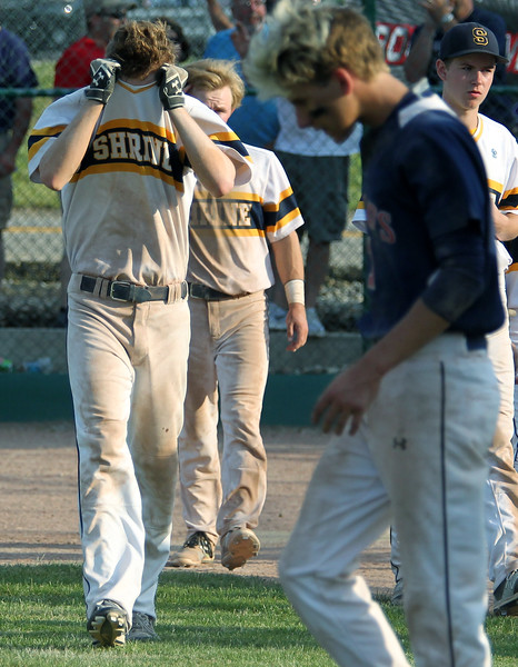 Royal Oak Shrine comes up short to the Patriots of Unionville-Sebewaing 4-3 in Division 4 quarterfinal baseball action at Grand Blanc High School Tuesday, June 13, 2017. (MIPrepZone photo / LARRY McKEE)