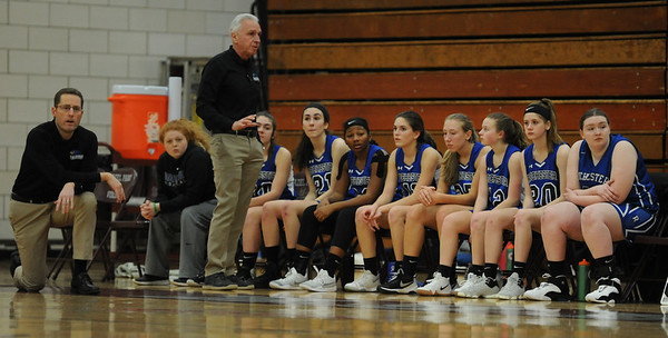 The Rochester Falcons moved to 2-0 in the OAA Blue Division with a 63-23 win over Hazel Park.  The game was played on Thursday January 10, 2019 at Hazel Park HS.  (Digital First Media photo by Ken Swart)