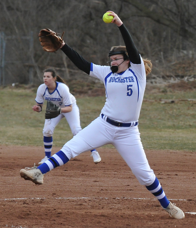 . Rochester pitcher Aryn Gallacher delivers a pitch during the OAA Crossover doubleheader against Troy Athens played on Tuesday April 10, 2018 at Rochester High School.  Gallacher won the second game 8-1 and Athens took game one 11-0.  (Oakland Press photo by  Ken Swart)