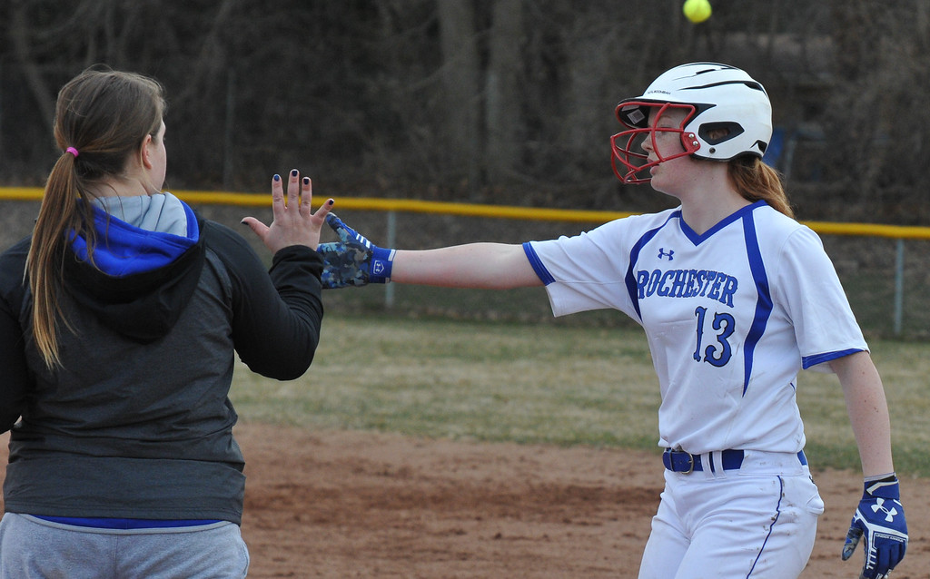 . Rochester and Troy Athens split an OAA Crossover doubleheader with Athens taking the first game 11-0 in 5 innings, and Rochester winning the nightcap 8-1.  The games were played on Tuesday April 10, 2018 at Rochester High School.  (Oakland Press photo by  Ken Swart)