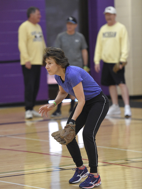 . Seniors get ready for the summer softball season at the Rochester Older Persons Commission on March 26, 2018. (Digital First Media Gallery by David Dalton)